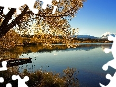 viewes, Platform, Mountains, trees, River