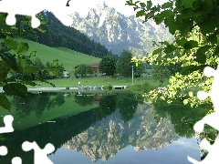 viewes, reflection, lake, trees, Mountains