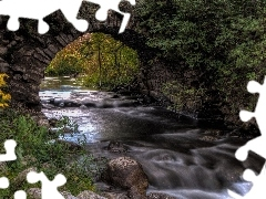 viewes, Stones, bridge, trees, River