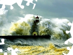 Waves, Storm, maritime, sea, Lighthouse