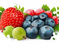 blueberries, Fruits, gooseberry, White Background, Strawberry, Redcurrant