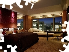 table, Bedroom, Windows, View, TV, bed