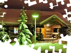 house, winter, wooden