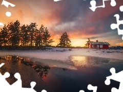 winter, lake, viewes, Home, trees, Norway, Ringerike, Great Sunsets