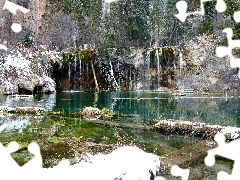 lake, winter, waterfall