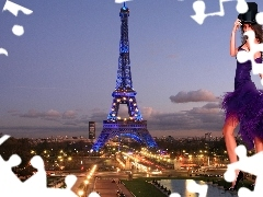 Women, Eiffla Tower, light, Streets