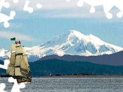 woods, Canada, lake, Mountains, sailing vessel