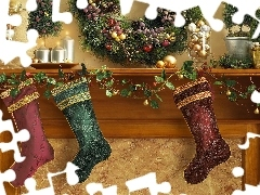 decoration, wreath, socks, Christmas, Candles
