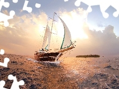 Yacht, sea, west, sun
