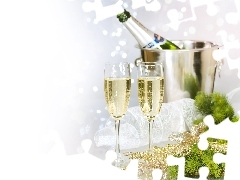 glasses, New, year, Champagne