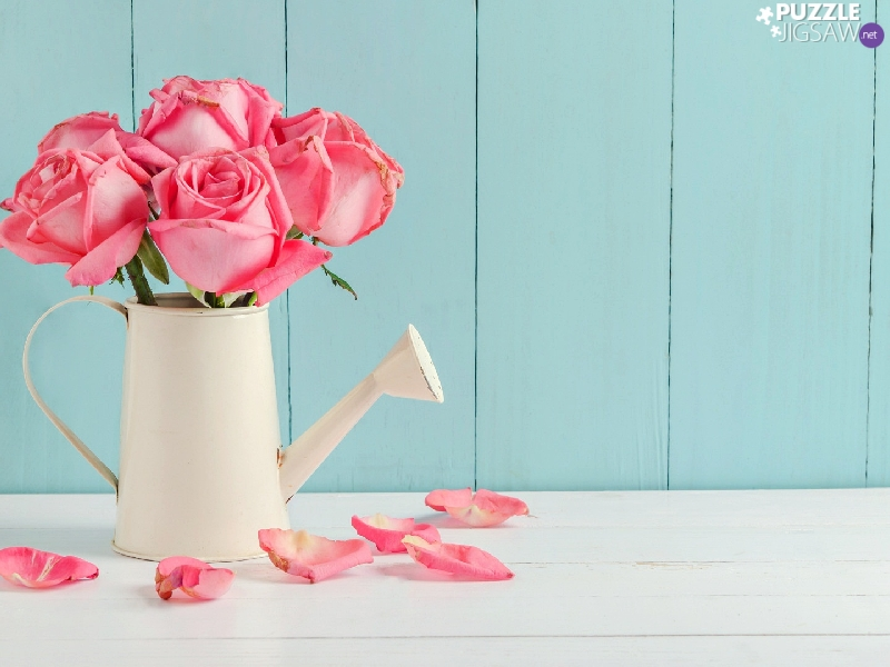 White, watering can, roses, flakes, Pink