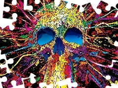 abstraction, skull, colors