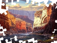 clouds, River, Art, canyons