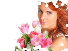 bouquet, tulips, girl, make-up, redhead