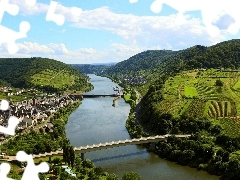 River, Houses, field, bridge
