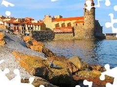 Houses, Stones, France, sea