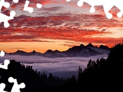 Mountains, Fog, Great Sunsets, clouds