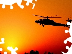 Helicopter, west, sun