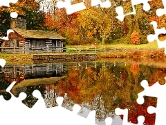 Leaf, forest, House, reflection, Pond - car, color