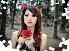 model, Mikako, blur, Zhang, roses, forest, summer, Kaijie