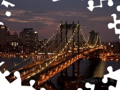 Brooklyn, York, town, bridge, New, panorama, Night