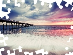 sea, clouds, pier, Waves