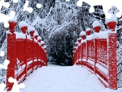Red, bridges, trees, viewes, snowy