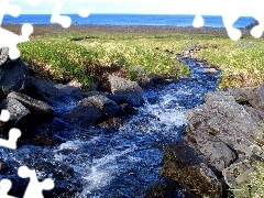 Sea, inflow, grass, Do, flux, rocks, mountains
