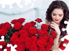 rouge, model, bouquet