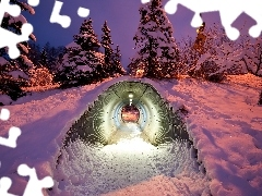 snow, twilight, viewes, tunnel, trees