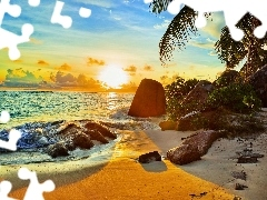 Ocean, west, Stones, tropic, Beaches, sun