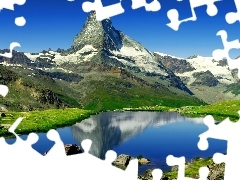Mountains, Matterhorn, Switzerland, lake