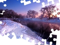 River, west, viewes, snow, trees, sun