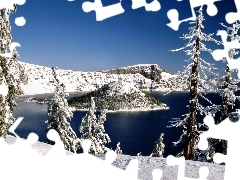 viewes, winter, lake, trees, Mountains
