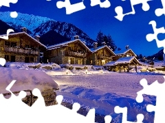 Houses, mountains, winter, ##