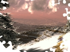 Mountains, viewes, winter, trees