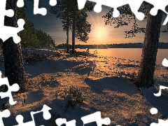 viewes, lake, Norway, snow, Ringerike, trees, winter, rays of the Sun